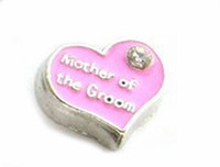 Wholesale Groom Charms - 20PCS lot Mother Of The Groom Charm, DIY Alloy Heart Wedding Floating Locket Charms Fit For Glass Living Magnetic Locket Pendant