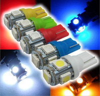 Wholesale 168 led red - T10 5smd 5050 194 168 2450 2921 Wedge Car Bulbs for Side Lights LED auto lights reading lights Yellow Red Green Blue White