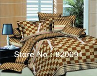 Wholesale Cheap Luxury Bedding Sets - Wholesale-Cheap Discounted Modern Luxury Latticed Bed Sets Duvet Cover Comforter Set Home Textile Imitated Oil Painting 4 or 5pcs-Brown