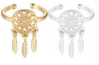 Wholesale Dreamcatcher Jewelry - New fashion dreamcatcher jewelry 18K silver and gold plated indian Dream catchers midi finger ring for women girl nice gift