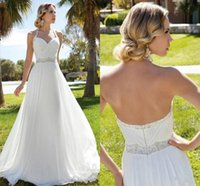 Wholesale Halter Wedding Dress Crystal Sash - White Chiffon wedding gowns Halter A-Line Backless With Pleats Body and Beads Sash Floor-Length Garden Beach Bridal Dress HH051