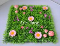 Wholesale Mushroom Mat - Fairy door supplies Artificial plastic grass mat with pink flowers and pink mushrooms
