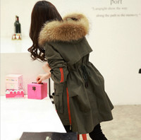 Wholesale Women S Clothing Winter Large - TOP quality new 2015 winter jacket coat women's parkas army green Large raccoon fur collar hooded woman outwear loose clothing