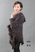 Wholesale Real Bats - Wholesale-New Real Rabbit fur knitted Poncho With Hooded Cape FREE SHIPPING 1349