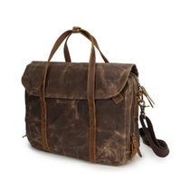 Wholesale 13 Laptop Shoulder Leather Bag - Laptop Bag Waterproof Canvas Messenger handBag,Vintage Shoulder Bag Cow Leather Briefcase