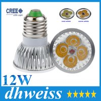 Highlight GU10 / MR16 / E27 / E14 / G5.3 12W CREE 4x3W Dimmable Led Light Lamp Spotlight ampoule led 10pcs, pas cher !! + CE ROHS