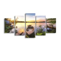 Wholesale Wooden Panels - 5 pieces high-definition print The wooden boat in the lake canvas oil painting poster and wall art living room picture PL5-171