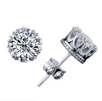 Wholesale Wholesales 1ct Diamond - 1CT Austrian Crystal Stud Earrings 925 Sterling Silver Plating 30% White GOLD Crown Wedding Stud Earring Engagement Elements Jewelry