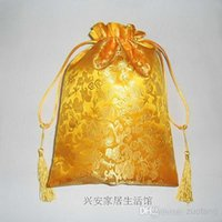 Wholesale Luxury Gift Christmas Bag - Extra Large Tassel Gold Dragon Silk Fabric Pouch Luxury Chinese style Christmas Drawstring Gift Packing Bag Birthday Lavender Tea Candy Stor