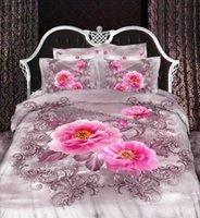 Wholesale Romantic Floral Quilts - Wholesale-3D Pink floral bedding set queen size duvet cover quilt bed in a bag sheets bedspread bedclothes bedroom linen cotton romantic