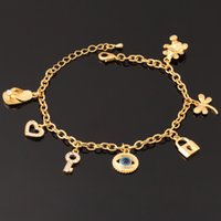 Wholesale Cute Lock Key - 18K Real Gold Plated Evil Eyes Cute Bracelet Key Lock Bear Hearts High Quality Bangles For Girls Jewelry Wholesale YH5184