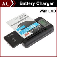 Wholesale Yiboyuan Battery Charger - YIBOYUAN Intelligent Indicator LCD Universal Home Dock Battery Charger For Galaxy S5 S4 Note 3 4 with USB Output Charge Mobile Phone 1250mAh