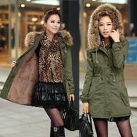 Wholesale Long Parka Women Fleece - 2016 New Winter Parka Women Fleece Winter Coat Army Green Fur Hooded Coat Fashion Warm Women Jacket Chaquetas Mujer 9009