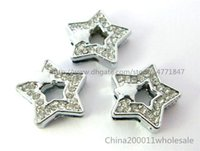 Wholesale Diy 8mm Star Slide Charms - 10pcs 8mm Star with star Slide charms SL179 Fit DIY Name Bracelets  Necklace Name Pet collar Key chain  (Fit 8mm wide belt)