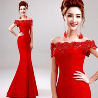 Wholesale Chinese Modest Dresses - Cheap 2015 Modest Red Mermaid Lace Wedding Dresses Sexy Off the Shoulder Capped Beaded Crystal Long Chinese Wedding Dresses Formal Gowns