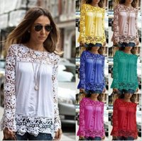 Wholesale Crochet Blusa - 5XL Crochet blusa Tops Women Embroidery Lace Sleeve Chiffon Blouse floral Shirts Long Sleeve Hollow out Top shirt AB001