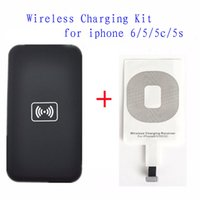 Wholesale Iphone 5s Eu Charger - Qi Wireless Charging Kit for iPhone 6 5 5c 5s Wireless Charger Charging Pad and Receiver Card kit