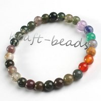Wholesale Charm natural Indian agate precious stone Round Shape Beads Stone chakra healing Bracelets Jewelry Gift