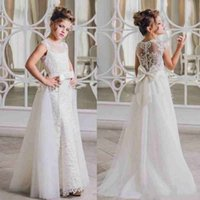 Compra Fiori Di Nozze Staccabili-Principessa Sash Lace Girls Pageant Dress Gonna staccabile A-Line 2018 Girl Comunione Dress Bambini Abiti da cerimonia Abiti per ragazze di fiori per matrimoni