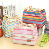 Wholesale thermal insulated cooler bags online - portable canvas stripe picnic lunch drink thermal insulated cooler tote bag carry case zipper lunch box bag colors