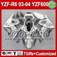 ingrosso yamaha r6 fairings kit-7 colpi + fiamme nere Corpo per YAMAHA YZFR6 03-04 YZF-R6 YZF-600 C946 YZF600 YZF 600 YZF R6 03 04 YZF R 6 2003 2004 BLK SILVERY R6 Kit carenatura