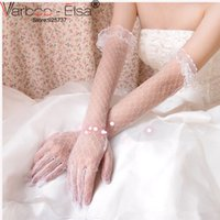 Wholesale Ivory Summer Bridal Gloves - mitaine mariage dentelle 2017 new style bride gloves ivory lace gloves wedding summer sheer long woman sexy gloves wedding accessories red