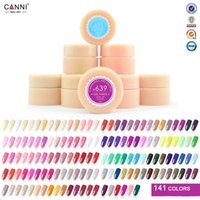 Wholesale French Tip Glitter - Wholesale-Brand CANNI 141 Color Gel Paint Solid Pure Glitter UV Soak Off Gel Builder Gel Nail Art French Tips 24Pcs Lot