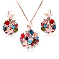 Wholesale Costume Jewelry Butterfly Necklace - Mix 2 colors Vintage Butterfly Weddings Costume Bead Jewelry Sets Brand 18K Gold Plated Rhinestone Crystal Costume Jewelry for women