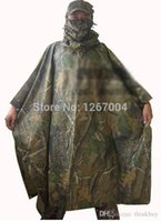 Wholesale Hunting Poncho Rain - 1set 100*140 cm outdoor bionic camouflag WATERPROOF HOODED ARMY RIPSTOP RAIN PONCHO RIANCOAT hunting hiking raincoat 051919