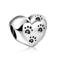 Wholesale Dog Beads Charms - Wholesale Dog Footprints Hearts Charm 925 Silver European Charms Bead Fit Snake Chain Bracelet Women Jewelry
