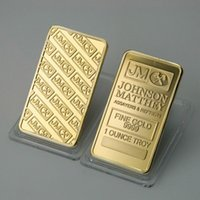 Wholesale Wholesale Gold Bullion Bars - 2pcs lot, America JM Johnson Matthey bank Morgan gold plated bullion bar coins gift.free shipping
