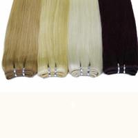 trama reta loira 27 venda por atacado-Em linha reta cabelo humano brasileiro Weave # 1B do cabelo preto trama # 10 # 8 Brown # 27 # 613 loira # 99j Burgundy 100g / lot cabelo macio barato