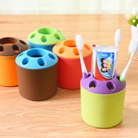 Wholesale Toothbrush Pens - Multi Function Toothbrush Holders Round Plastic PP Porous Storage Rack Removable Desktop Pen Stand New Arrival 0 68zh B
