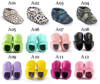 Wholesale Booties For Newborns - Hot Newborn Baby First Walkers Moccasins Soft Moccs Kids Shoes Baby bow Prewalker booties Tassels Leather Shoes for toddler 37styles BY0000