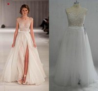 Wholesale Chiffon Strapless Beach Bead Wedding - 2015 Beach Wedding Dresses Sexy A Line Sheer Crew Neck Real Image Emboridery Side Slit Floor Length Plus Size Chiffon Tulle Bridal Gowns