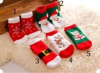Wholesale Boys 3t Christmas - Baby cartoon Christmas socks 2015 NEW 1-3 year boy Girls cartoon socks 5 color B001