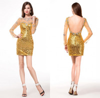 Long Sleeve Heimkehr Kleider Mantel Backless Golden Sequins Shiny Bling Bling Strass Vestido De 15 Anos Curto Kurz Für Jugendliche