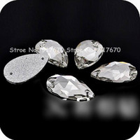 Wholesale diy sew stones - Quality 120pcs 13x22mm dropwater stones and crystals buttons DIY rhinestone sewing accessories