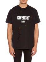Wholesale Fan Sleeves - 2017 GIV Summer Street wear Europe Paris Fan Made Fashion Men High Quality Broken Hole Cotton Tshirt Casual Women Tee T-shirt