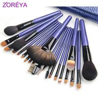 Wholesale Make Up Brushes Zoreya - Wholesale-High Quality Zoreya Brand Professional Purple 22pcs set Makeup Brushes Set Make Up Tools Cosmetic Brush Set Cosmetic Tools