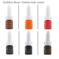 Wholesale golden bottle cosmetic online - Colors Cosmetic Golden rose tattoo ink Permanent Makeup Micro Pigment Ink Color ml bottle kits supply