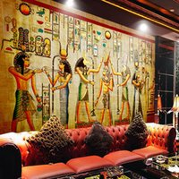 Wholesale Interior Design Kids Bedroom - Egyptian Wall painting Vintage Photo Wallpaper Custom 3D Wall Murals History & Culture wallpaper Kids Bedroom Living room Interior Design