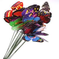 ingrosso decorazione farfalle giardino-20pcs colorato farfalla giardino ornamento flowerpot giardino casa arredamento camera simulazione farfalla per i bambini