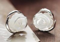 ms roses achat en gros de-925 bijoux en argent sterling naturel nacre incrustation de roses sacrées rétro Mme boucles d'oreilles