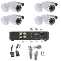 ingrosso telecamera di sicurezza esterna notturna-4CH HDMI H.264 DVR 4x480TVL 1/3 SONY CCD 3.6MM LENS esterna Sistema di telecamere di sicurezza CCTV Day Night Vision Kit casa con BNC NTSC
