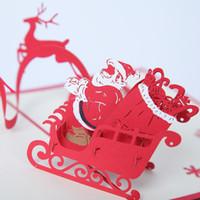 Wholesale Christmas Cards Santa - 2017 3D Christmas Card Santa Claus Sleigh Snowman Christmas Tree Xmas Card for Your Best Gift