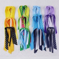 Wholesale Wholesale Streamer Bows - Wholesale 20pcs baby hair accessories girls baby Bow Ponytail Streamers various color korker ponytail holder Cheer Bow E001 Y-25