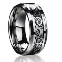 Wholesale Tungsten Carbide Dragon Ring - 8mm wide Free Shipping Mens Dragon Tungsten Carbide Ring Mens Jewelry Wedding Band silver New size 4-13