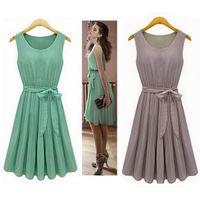 yeşil şifon yeleği elbisesi toptan satış-Yeni 2015 Yaz Casual Kadın Şifon Elbiseler Kolsuz Yelek Pileli Elbise Sashes, Yeşil, Kahverengi, 5005