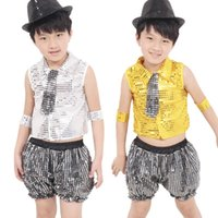 Wholesale Stage Clothing Gold - New Children's Dance Show Jazz Clothing Boys and Girls Stage Wear Sequined Costumes Top+Pants